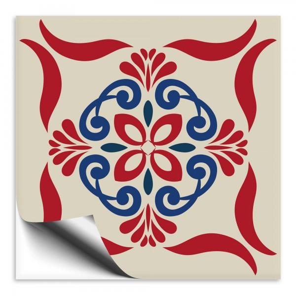 Fliesenaufkleber Marokko Ornament rot blau 32