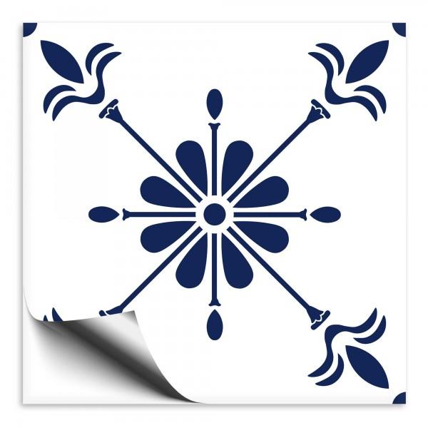 Fliesenaufkleber Ornament blau weiss 2