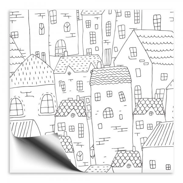 Fliesenaufkleber Haus schwarz/weiß