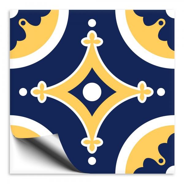 Fliesenaufkleber orientalisch Marokko blau-gelb 6