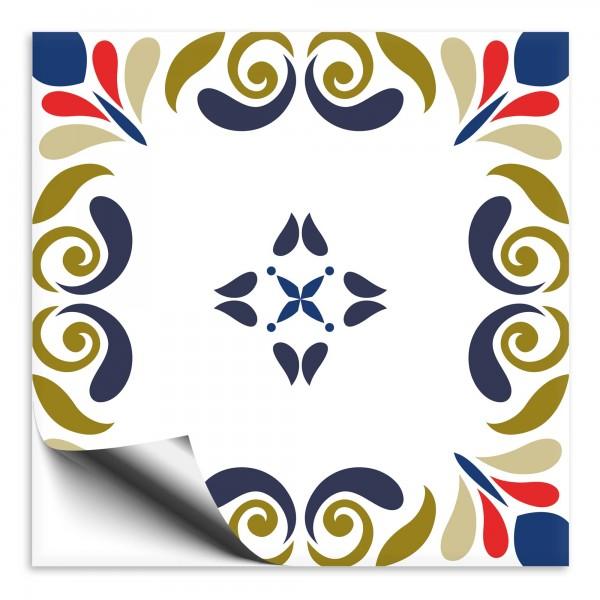 Fliesenaufkleber Marokko Ornament blau grün 4