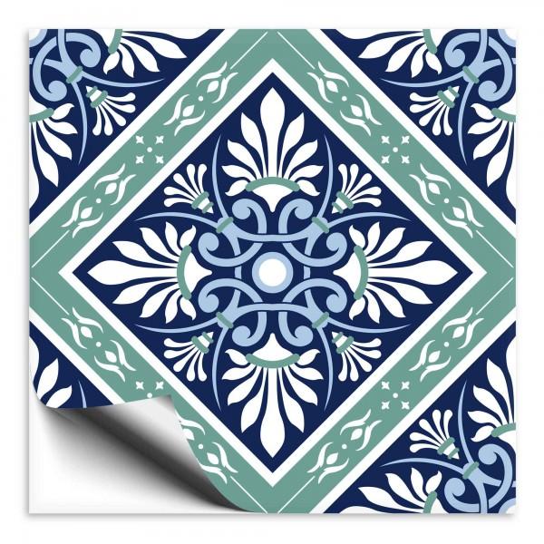 Fliesenaufkleber orientalisch blau grün 3