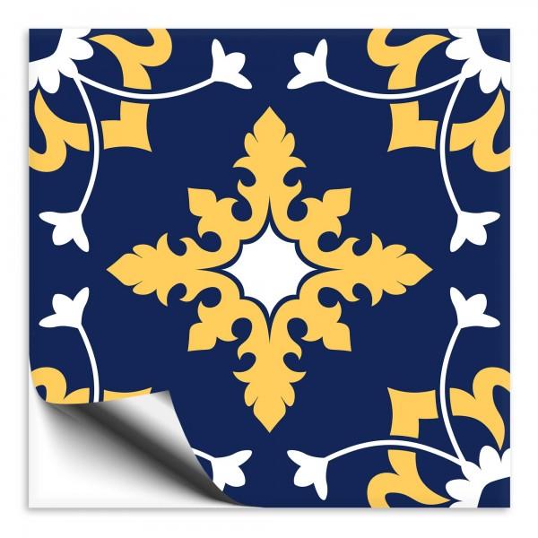 Fliesenaufkleber orientalisch Marokko blau-gelb 3