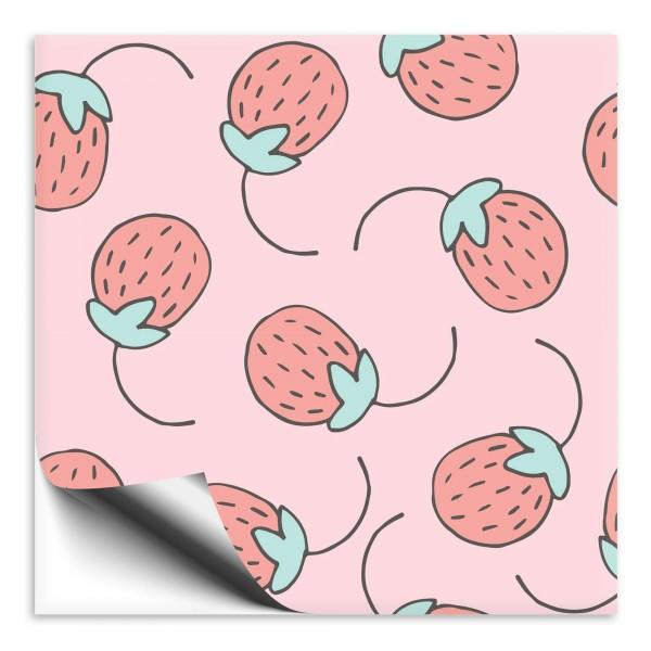 Fliesenaufkleber Erdbeere pink
