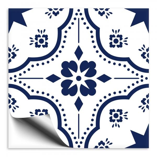 Fliesenaufkleber Ornament blau weiss 5