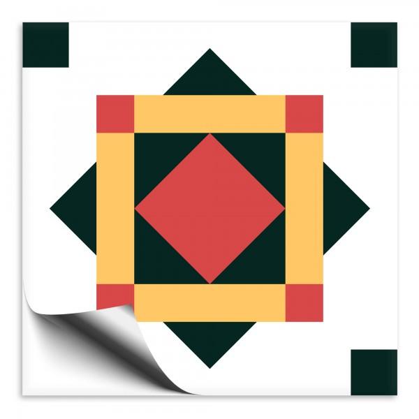 "Fliesenaufkleber Ornamente ""Portugal"" grün-gelb 7"