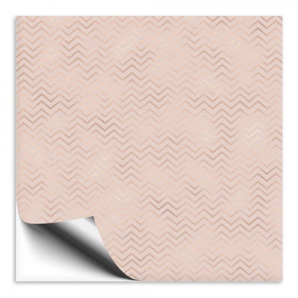 Fliesenaufkleber rosa mit goldenen Streifen