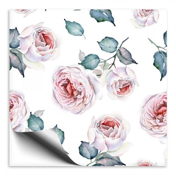 Fliesenaufkleber Rose Vintage pink