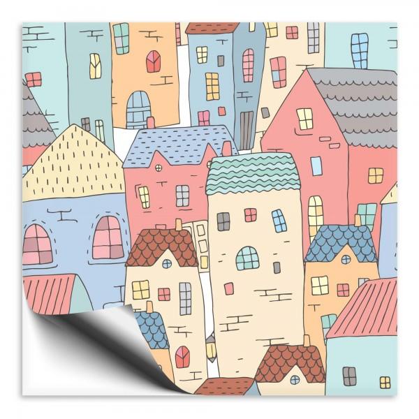 Fliesenaufkleber Haus bunt