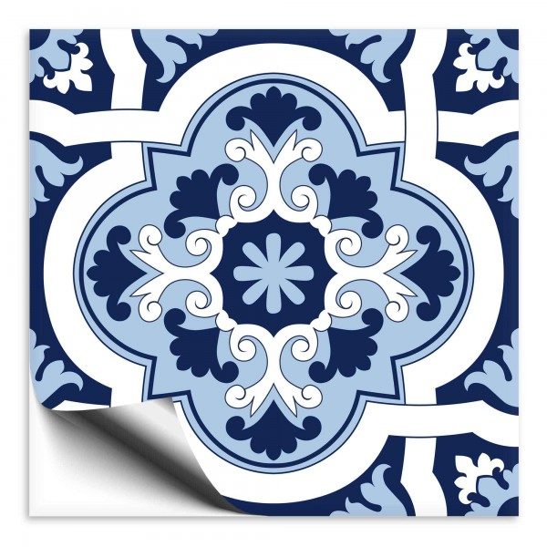 Fliesenaufkleber orientalisch blau weiss