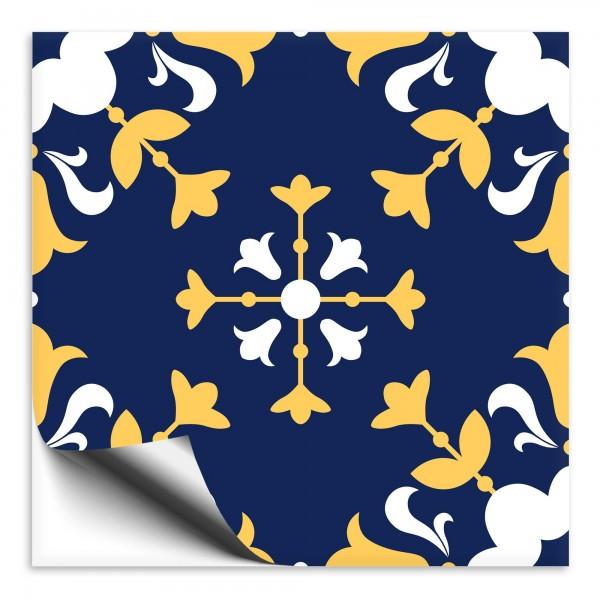 Fliesenaufkleber orientalisch Marokko blau-gelb