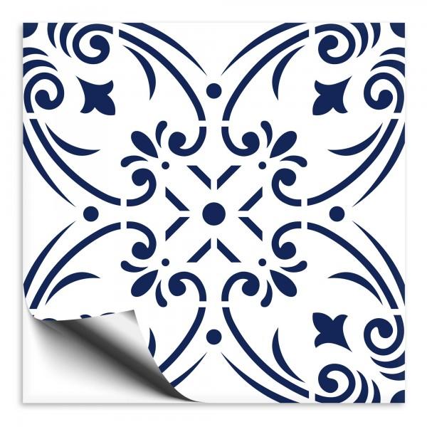 Fliesenaufkleber Ornament blau weiss 4