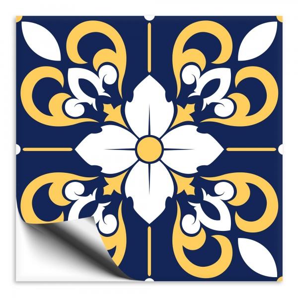 Fliesenaufkleber orientalisch Marokko blau-gelb 4