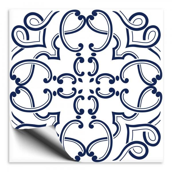 Fliesenaufkleber Ornament blau weiss 8