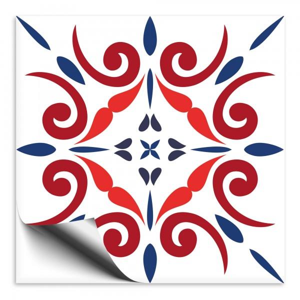 Fliesenaufkleber Marokko Ornament blau rot 3
