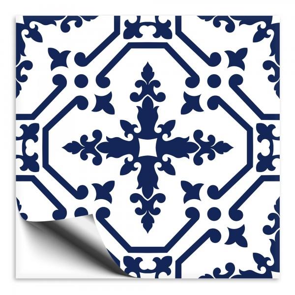 Fliesenaufkleber Ornament blau weiss 10