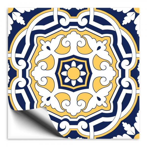 Fliesenaufkleber orientalisch Marokko blau-gelb 8