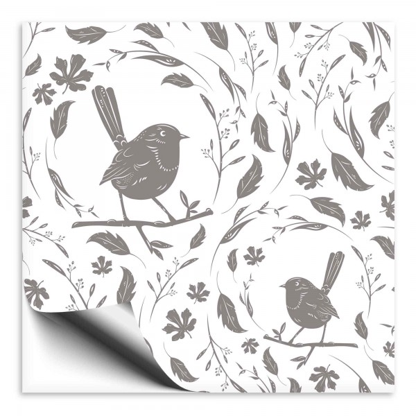 Fliesenaufkleber Vogel grau 2