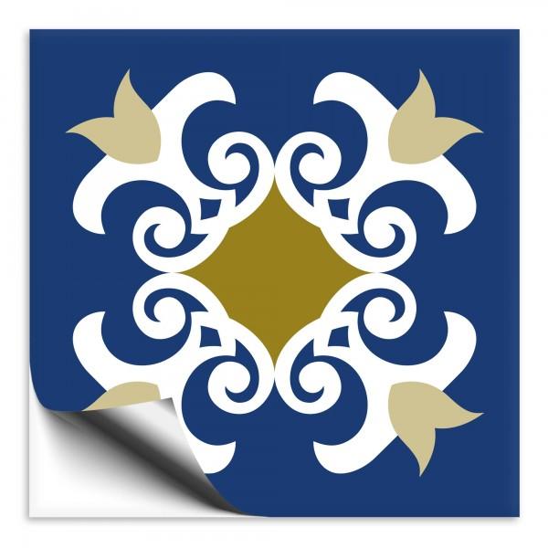 Fliesenaufkleber Marokko Ornament blau 19