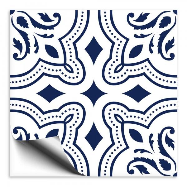 Fliesenaufkleber Ornament blau weiss 11