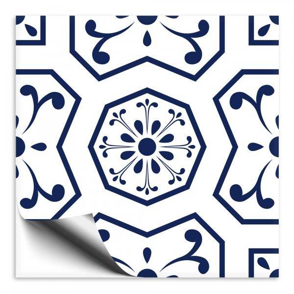 Fliesenaufkleber Ornament blau weiss 3