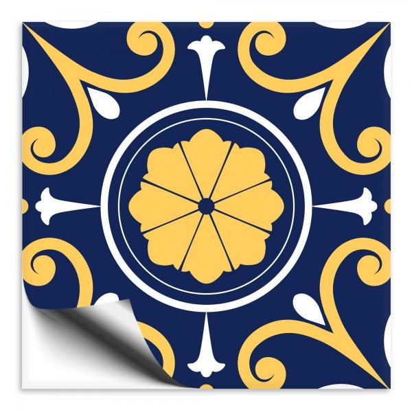 Fliesenaufkleber orientalisch Marokko blau-gelb 9