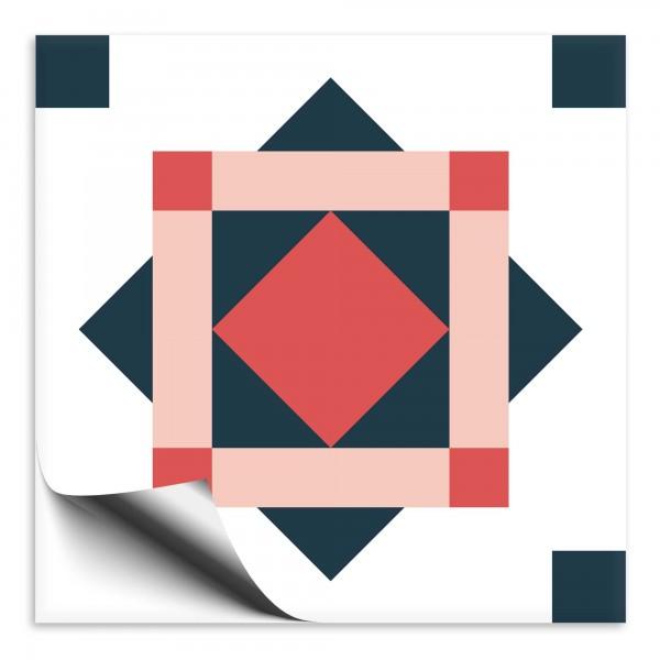 "Fliesenaufkleber Ornamente ""Portugal"" rot-blau 7"