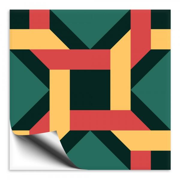 "Fliesenaufkleber Ornamente ""Portugal"" grün-gelb 2"