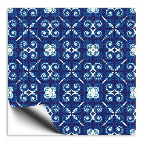 Fliesenaufkleber Marokko Ornament blau 23