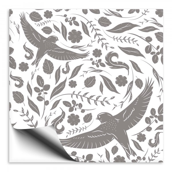 Fliesenaufkleber Vogel grau 3