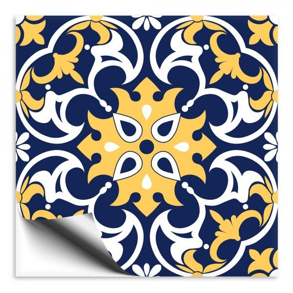 Fliesenaufkleber orientalisch Marokko blau-gelb 7