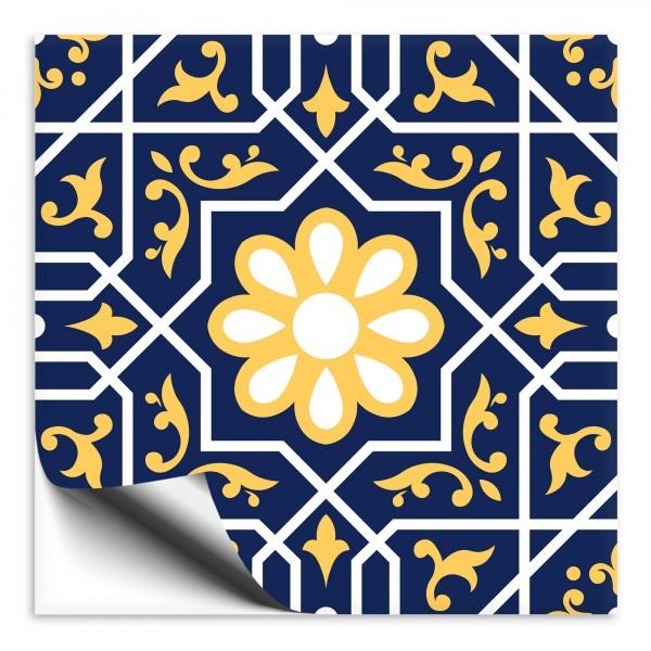 Fliesenaufkleber orientalisch Marokko blau-gelb 10