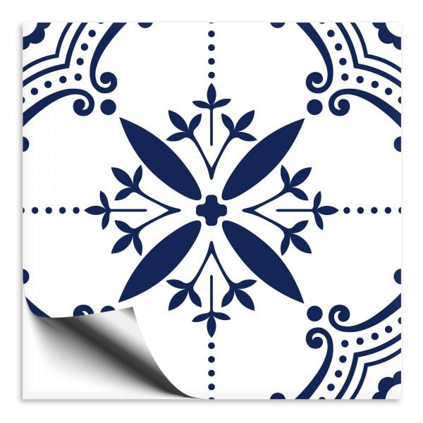Fliesenaufkleber Ornament blau weiss 6