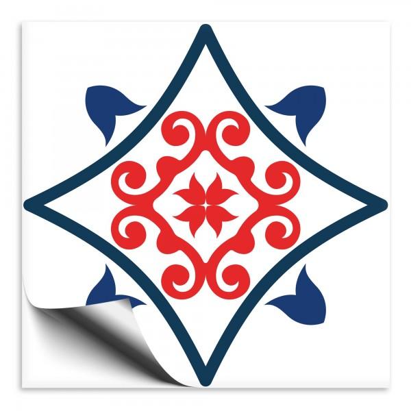 Fliesenaufkleber Marokko Ornament blau rot 8