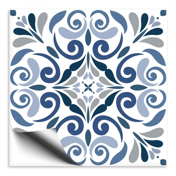 Fliesenaufkleber Ornament blau