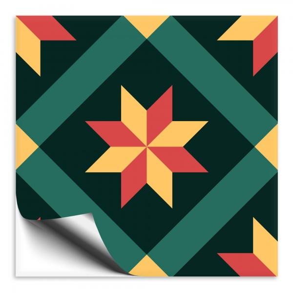 "Fliesenaufkleber Ornamente ""Portugal"" grün-gelb 4"