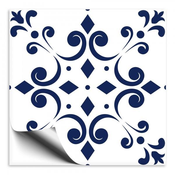 Fliesenaufkleber Ornament blau weiss 7