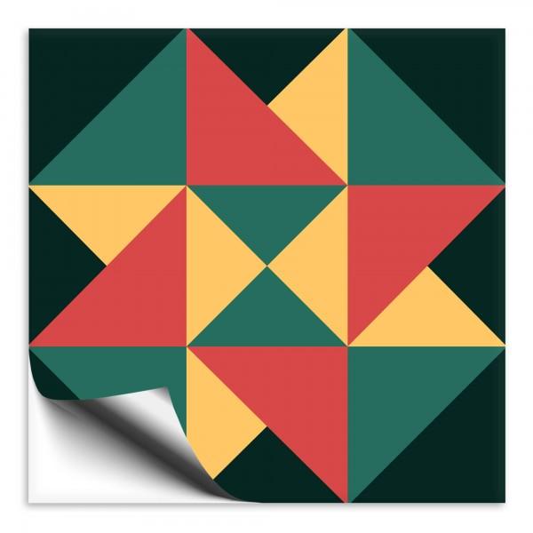 "Fliesenaufkleber Ornamente ""Portugal"" grün-gelb 1"