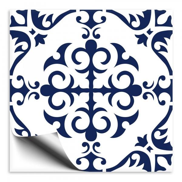 Fliesenaufkleber Ornament blau weiss 9